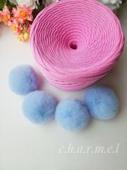 Помпон из натурального меха, Кролик, 5-6 см, цвет Голубой, 2 штуки