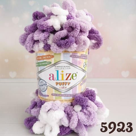 ALIZE PUFFY COLOR 5923, Белый/фиолетовый