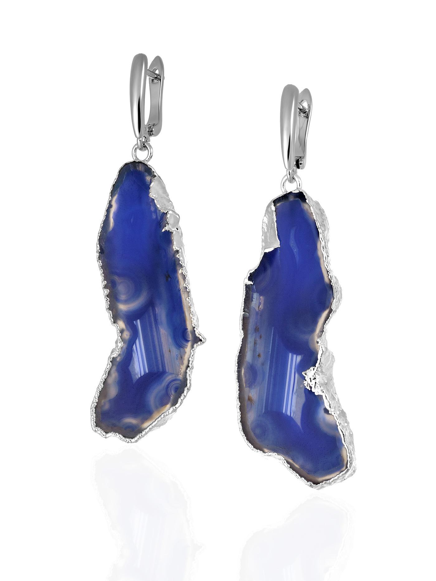Дизайнерские серьги с жеодой агата голубого цвета