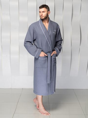 Мужской вафельный халат PATRICK серый
