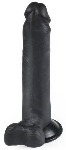 Черный фаллоимитатор-реалистик на присоске - 16,5 см.