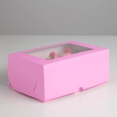 Коробка прямоугольная однотонная, с окном, 25*17*10 см, мягкая картонная, 1 шт.