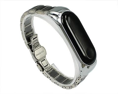 Ремешок для Xiaomi Mi Band 3/4 сталь | черный с серебром