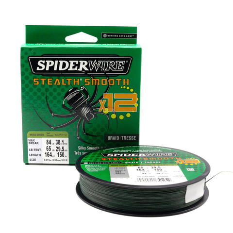 Плетеная леска Spiderwire Stealth Smooth 12 Braid Темно-зеленая 0,33 мм., 38,1 кг., 150 м. (1507359)