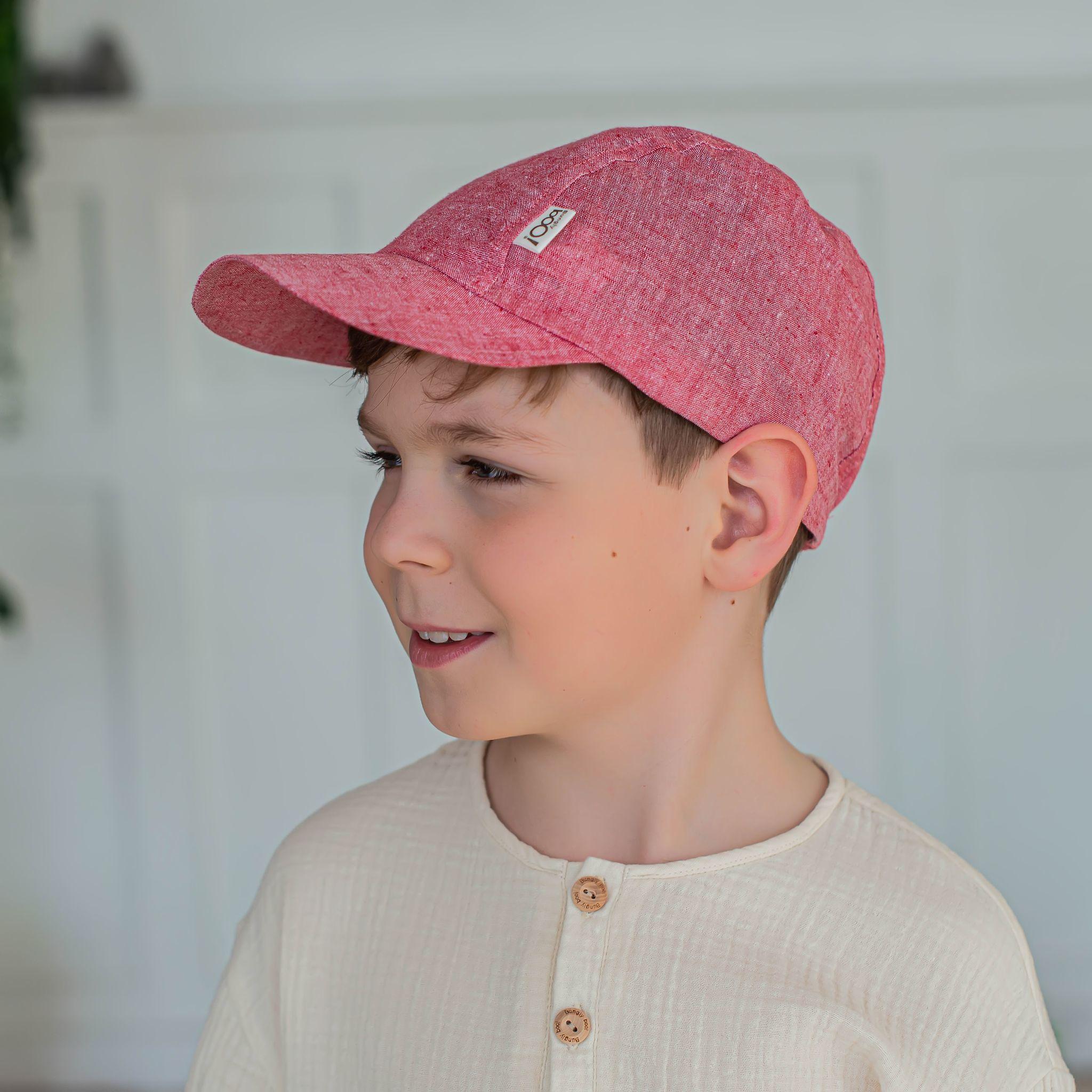 Cotton cap for teens - Deep Red Melange