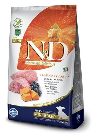 Сухой беззерновой корм Farmina N&D Grain Free Pumpkin Lamb&Blueberry Puppy Mini