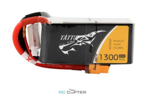 АКБ Gens Ace TATTU 1300mAh 14.8V 45C 4S1P Lipo Battery Pack XT60