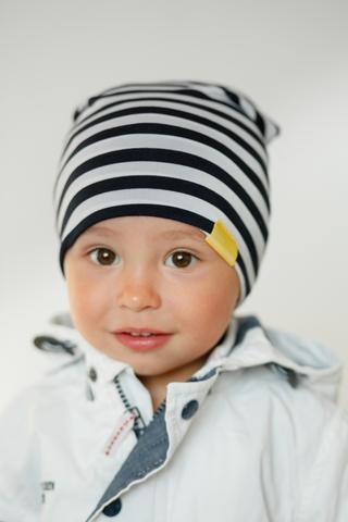 Детская шапка хлопковая гладкая тонкая тельняшка