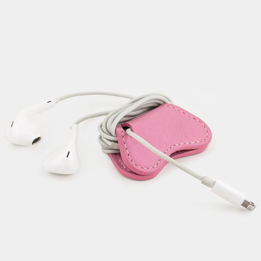 Чехол-держатель для наушников Papillon Easy из натуральной кожи теленка, розового цвета