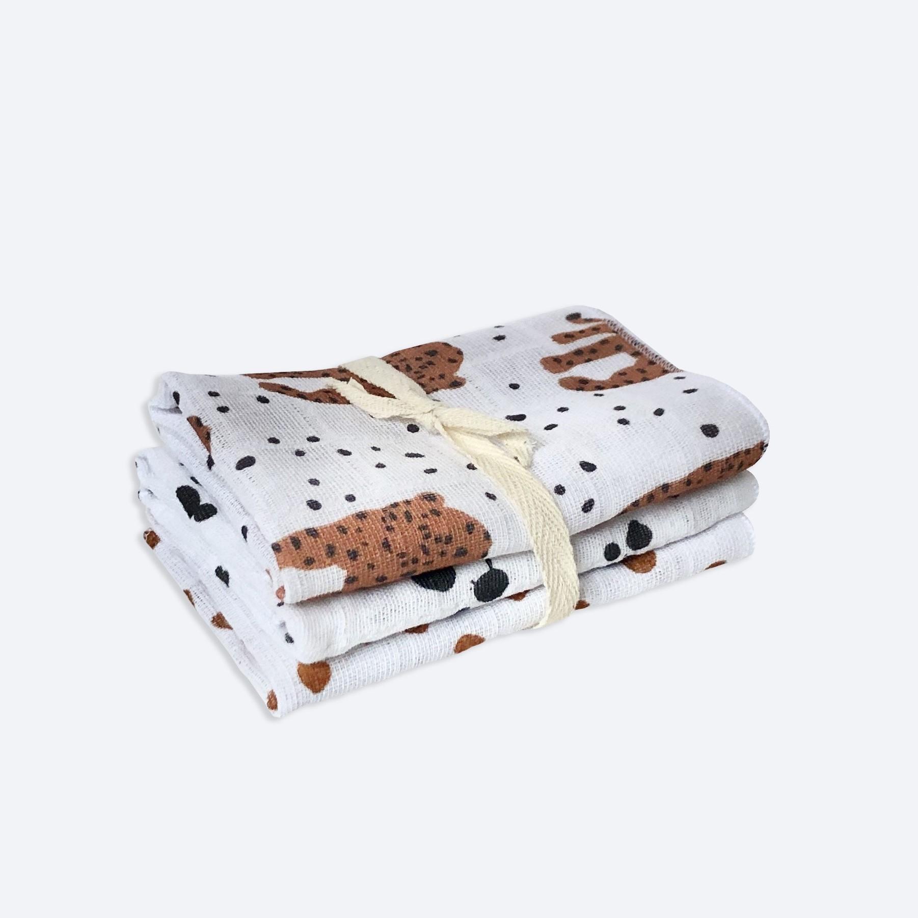Сет из 3х муслиновых салфеток Mjölk Леопарды