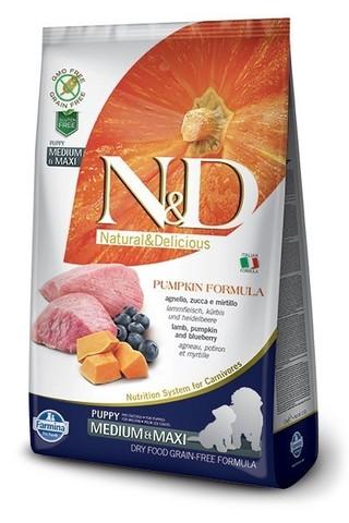 Сухой беззерновой корм Farmina N&D Grain Free Pumpkin Lamb&Blueberry Puppy Medium & Maxi