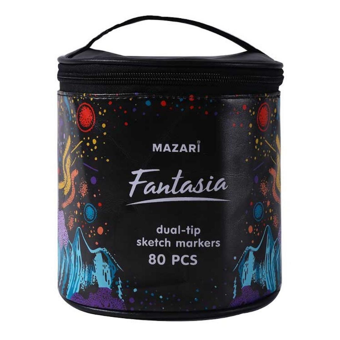 Mazari Fantasia набор маркеров для скетчинга 80 шт в круглой сумке пенале - двусторонние спиртовые пуля/долото 3.0-6.2 мм
