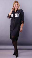 Глем. Ошатна сукня-сорочка великих розмірів. Чорний + срібло.