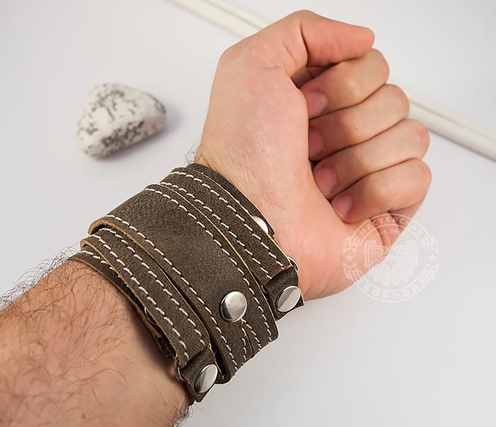 BL425-2 Широкий мужской браслет из кожи, ручная работа,  «Boroda Design» фото 06
