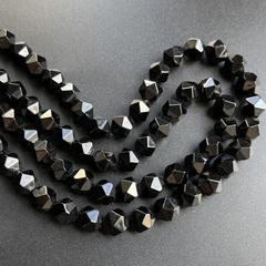 Агат черный бусины крупная грань 10х9,5 м