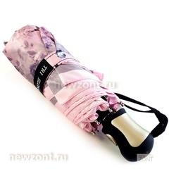 Мини зонтик автомат Tri Slona L4700-J в 4 сложения розовый с цветами