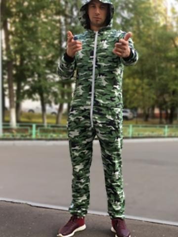 """Комбинезон Квокка хлопковый """"Камуфляж"""" зеленый"""