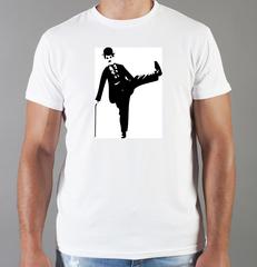 Футболка с принтом Чарли Чаплин (Charlie Chaplin) белая 0015