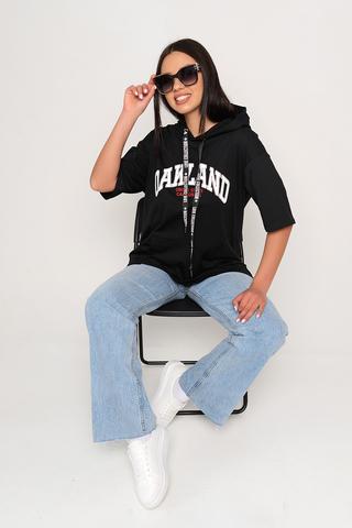 Футболка-худи 7 (черная). <p>Футболка-худи отличный вариант на каждый день! Уместно носить в этом сезоне с джинсами, джоггерами из эко-кожи, юбками и даже с удлиненным жакетом! Супер актуальная вещь.&nbsp;</p> <p>Один размер: 46-50</p>