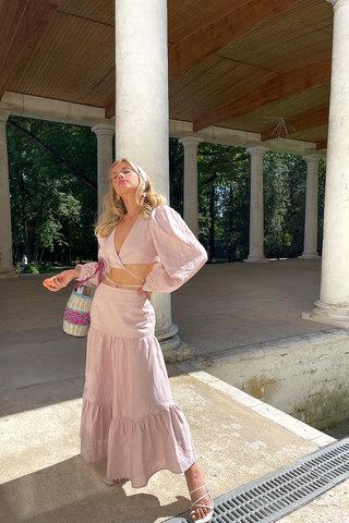 Асимметричная юбка со сборками пудрового цвета