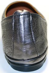 Летняя женская обувь - серебристые балетки. Летние туфли женские на низком ходу Bona Vicci Black Silver.