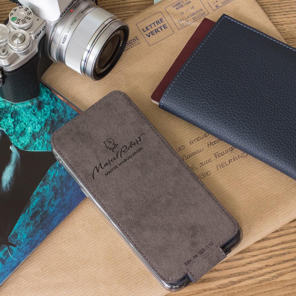 Чехол для Samsung Galaxy S8 Plus из натуральной кожи теленка, цвета синий мат