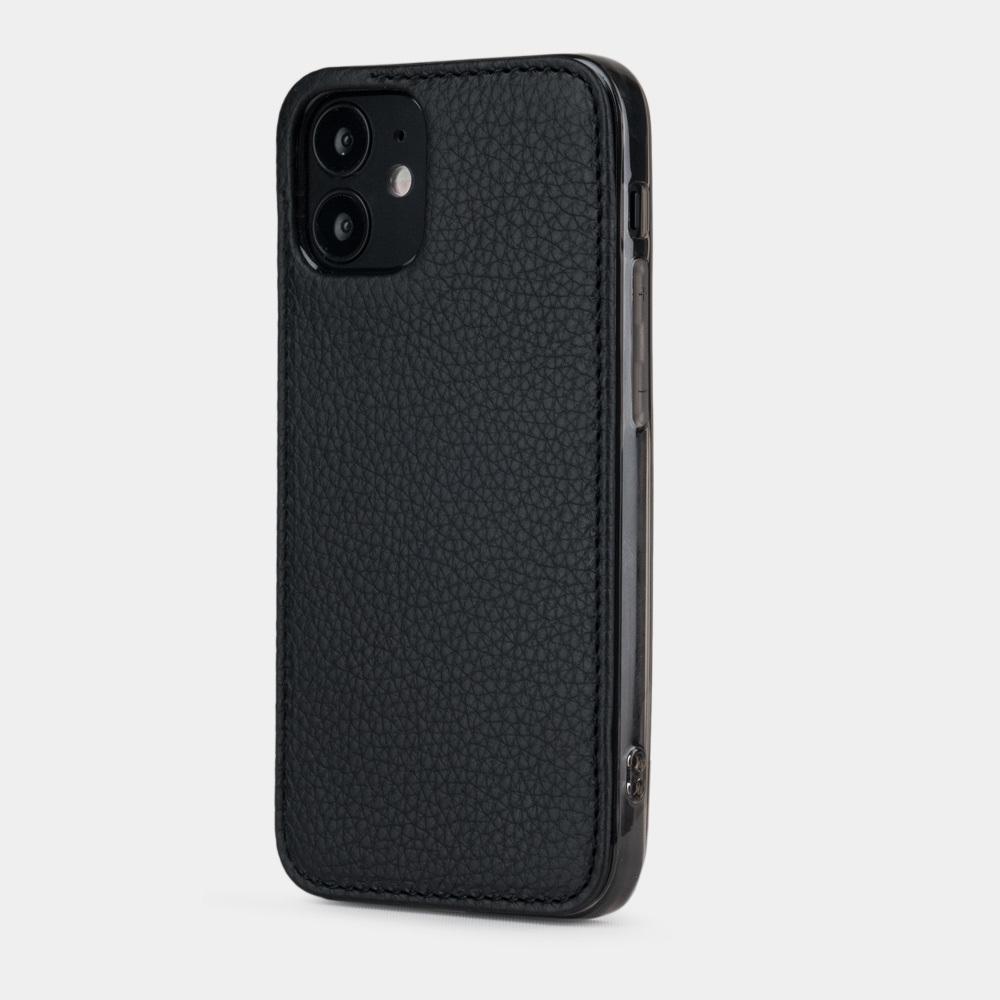 Чехол-накладка для iPhone 12 Mini из натуральной кожи теленка, цвета черный мат