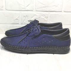 Летние мокасины туфли с перфорацией мужские Luciano Bellini 91268-S-321 Black Blue.