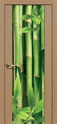 Дверь La Stella 303 фотопечать с двух сторон (Бамбук), фотопечать с двух сторон, цвет тиковое дерево, остекленная