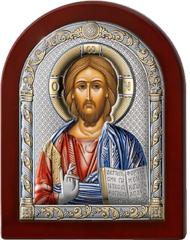 Серебряная икона Иисус Христос Спаситель (цветной лак, повышенное качество!)