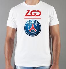 Футболка с принтом FC Paris Saint-Germain (ФК Пари Сен-Жермен) белая 004