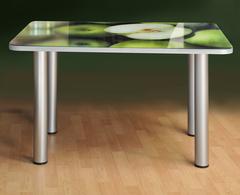 Кухонный стеклянный обеденный стол с фотопечатью ПРФ 100