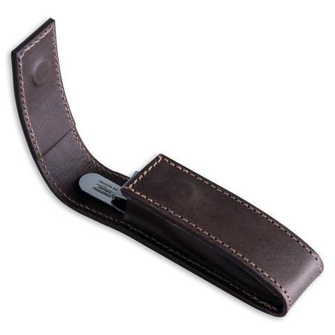 Маникюрный набор Dovo, 2 предмета, цвет коричневый, кожаный футляр