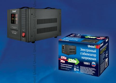 RS-1/1000LS Стабилизатор напряжения «Uniel» релейный однофазный напольный, 70-275 В, 1000ВА