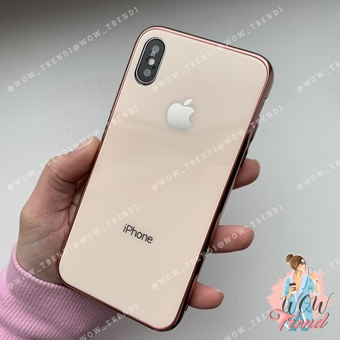 Чехол iPhone X/XS Glass Case Logo /rose gold/