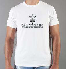 Футболка с принтом Мазерати (Maserati) белая 0012