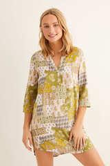 Сорочка с принтом в стиле пэчворк