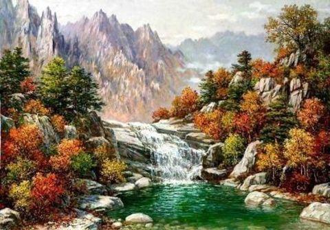 Алмазная Мозаика 40x50 Вид на горы у ручья (арт. GA74323 )