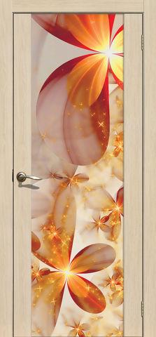 Дверь La Stella 303 фотопечать с одной стороны (Калейдоскоп), фотопечать с одной стороны, цвет ясень латте, остекленная
