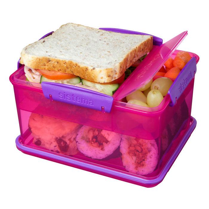 """Ланч-бокс Sistema """"Lunch"""", 4 секции, 2,3 л, цвет Розовый"""