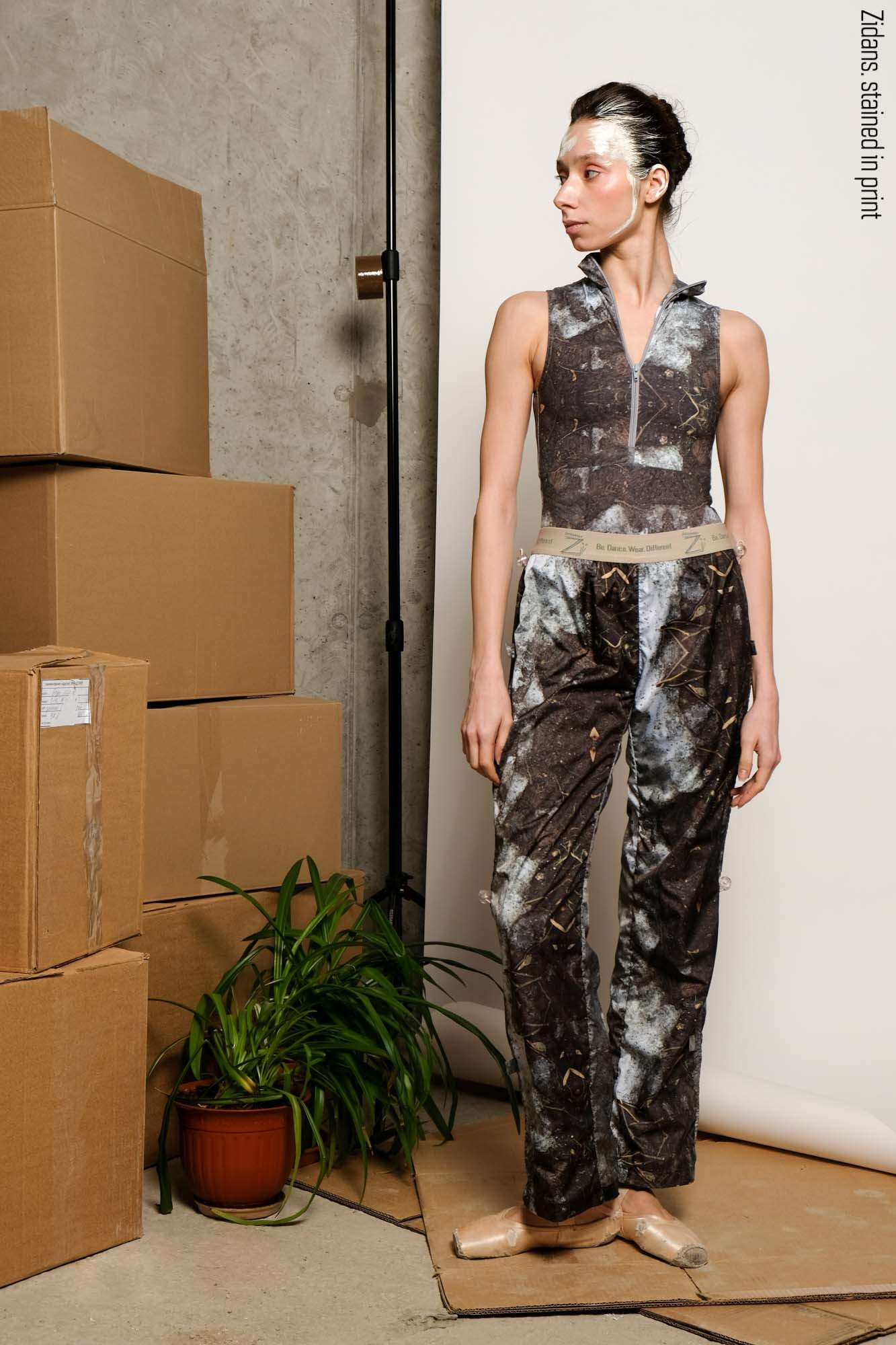 Warming sauna-pants, stained in print | mud