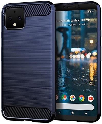 Чехол на Google Pixel 4 цвет Blue (синий), серия Carbon от Caseport