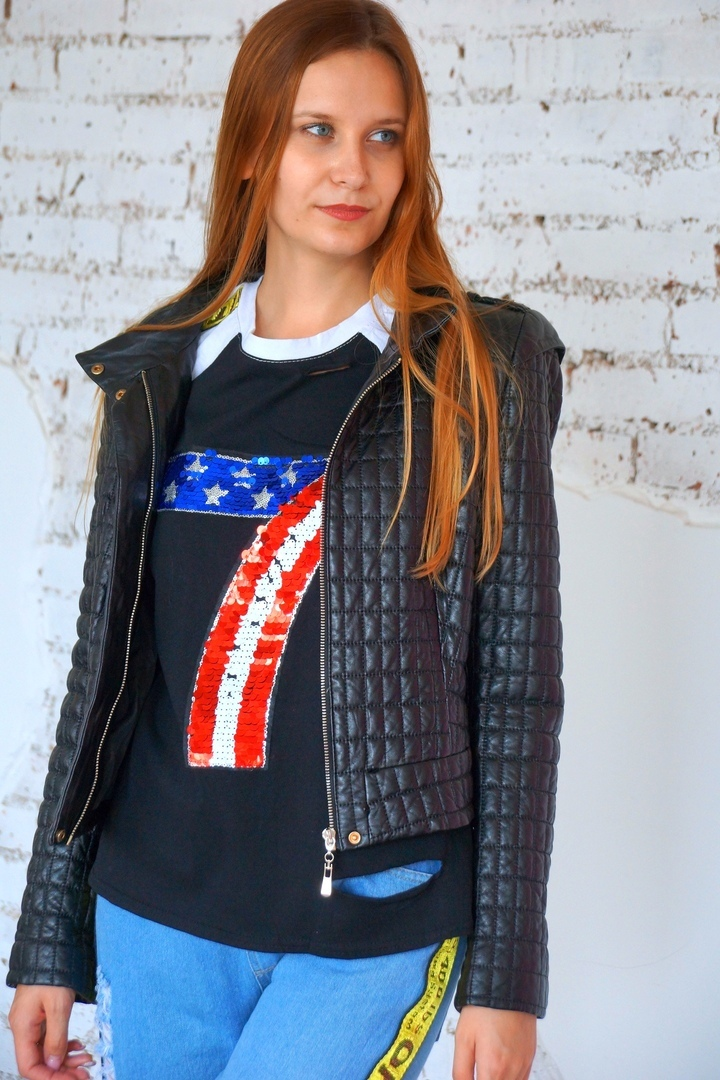 Стеганая кожаная куртка Katie Melua