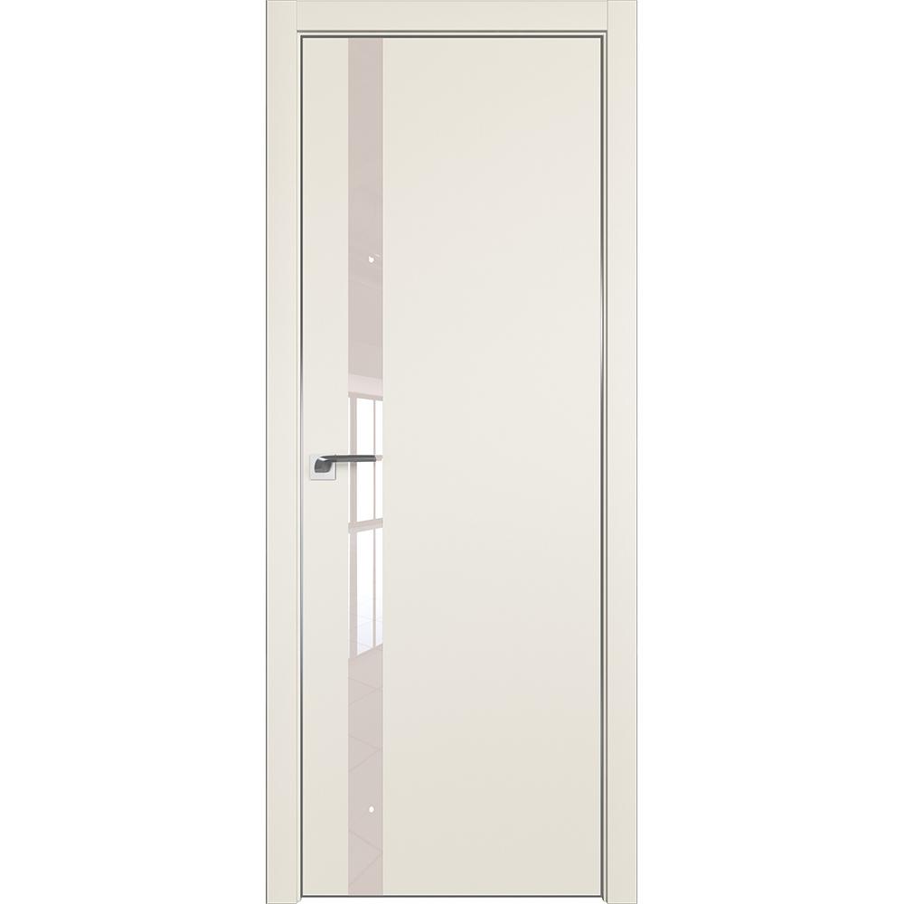 Межкомнатные двери Межкомнатная дверь экошпон Profil Doors 6E магнолия сатинат стекло перламутр алюминиевая матовая кромка с 4-х сторон 6E_Magnoliya_lak_perlamutrovyy_CHROME_MAT.jpg