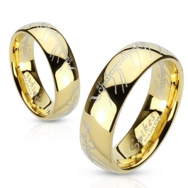 Позолоченное кольцо Всевластия (из Властелин Колец) мужское и женское из ювелирной стали SPIKES R-M2764