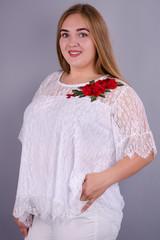 Квітка Роза. Святкова блуза плюс сайз. Білий.