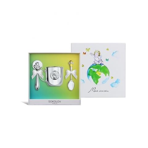 24048- Подарочный набор для малыша Ангел (погремушка+ложка+кружка)