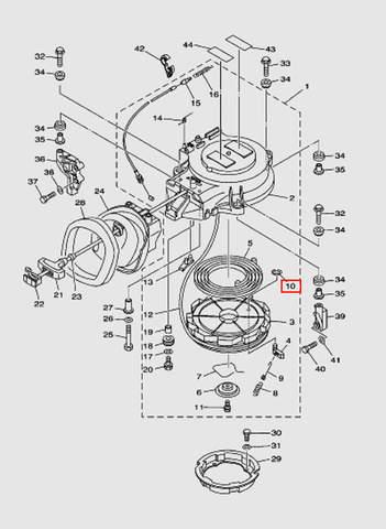 Стопорное кольцо стопора-упора стартера для лодочного мотора T40 Sea-PRO (7-10)