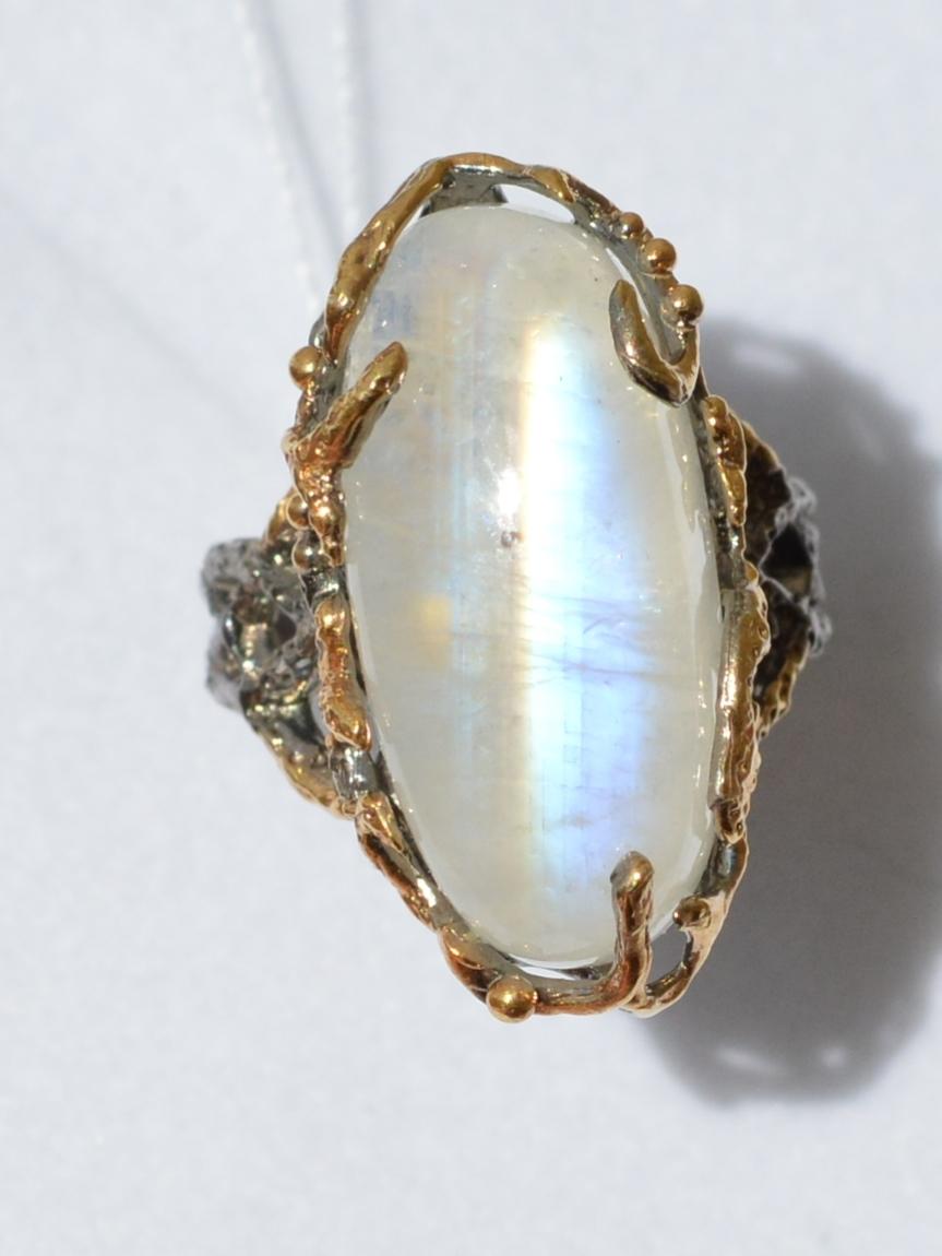 Мелани-лунник (серебряное кольцо с позолотой)