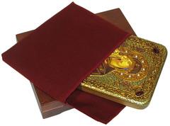 Инкрустированная икона Донская Пресвятая Богородица 20х15см на натуральном дереве, в подарочной коробке